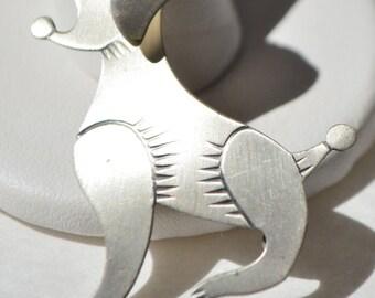 Vintage Danecraft Sterling Silver Poodle Dog Brooch Pin
