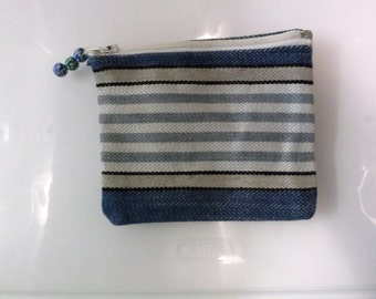 """Coin purse in sturdy striped fabric. Lined, zippered, zipper pull of blue beads in lovely pattern. 6 1/4 x 5.5"""""""