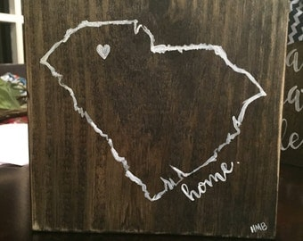 SC Home - Table decor - Hand painted wood sign Small