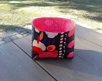 Waterproof basket made from Marimekko oil cloth fabric Tuppurainen, nursery bathroom organizer, storage bin, flower gift basket, home decor