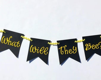 What will they bee? Twins Bee gender reveal party decorations, bee baby shower decorations, bee gender reveal banner, twins baby shower