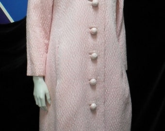 1960's/1970's Christian Dior pink dress + coat suit, numbered 44621, occasion wedding christening