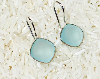 Chalcedony earrings in Sterling silver 92.5. Natural authentic stones perfectly matched . Sea green chalcedony faceted stones.