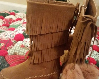 Kids Fringe Boots, Fringe Boots, Youth Size Boots, Boots, Size 10