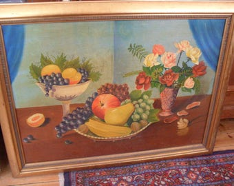 Oil painting on wood panel around 90 x 80 cm around 1950