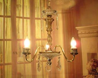 Antique Vintage Chandelier Pendant Brass 3 Lt Crystal