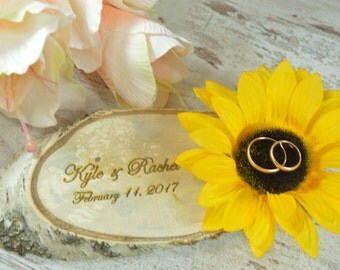 Wedding Ring Pillow Sunflower Wedding Ring Holder Ring Bearer Rustic wedding