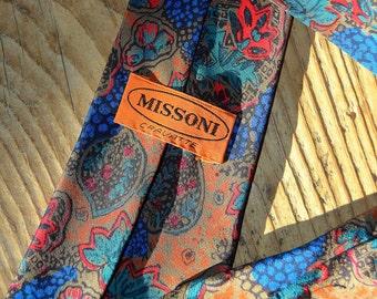 MISSONI Mens Tie - Vintage Silk Necktie - Gentlemen Accessories - Designer Necktie Made in Italy
