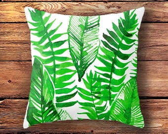 decorative pillow, tropical print, leaf print, throw pillows, decorative pillows botanical pillow, tropical pillow case, jungle, leaf pillow