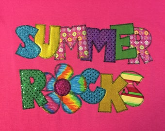 Summer Rocks Appliqued T-Shirt Blingy Letters   Sparkle