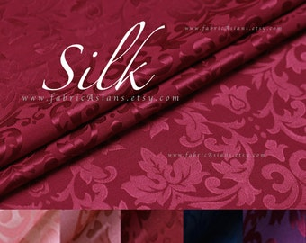 Burgundy Silk Crepe Damask Fabric SALE