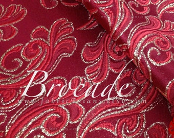 Red Brocade Silver Cloud Fabric