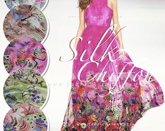 Fuchsia Silk Chiffon Hot Pink Flowers fabric