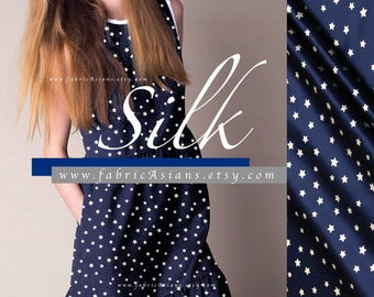 Stars Fabric Navy Blue Silk Fabric