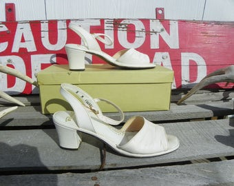 Vintage • Revelations Slingback White Leather Strap Wedge Heels | Size 8 M 8M Red Carpet Process 1960s Short Wedges Womens | Made in USA