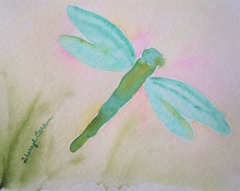 On the Wing - Dragonfly Watercolor Notecard