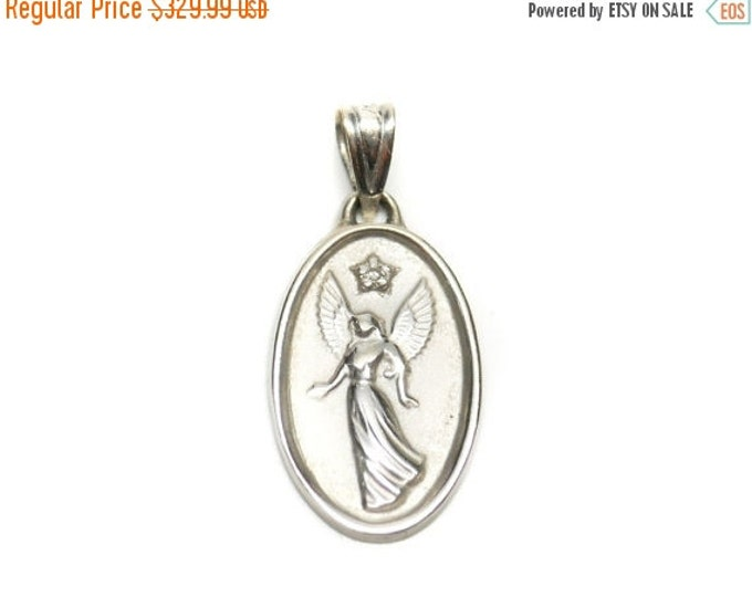 Storewide 25% Off SALE Vintage 14k White Gold Guardian Angel Designer Necklace Pendant Featuring A Beautiful Diamond Accent