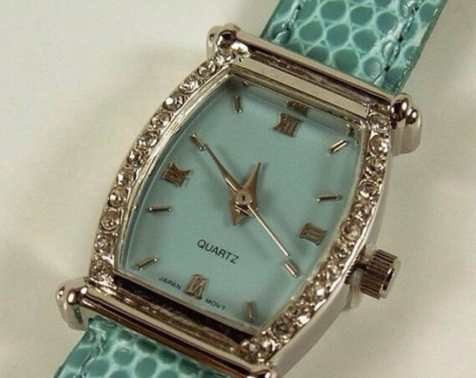 Storewide 25% Off SALE Vintage Ladies Baby Blue Dial Designer Quartz Watch With Blue Leather Band Featuring Rhinestone Accented Bezel