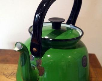 Vintage Tea Pot Enamel Green with Black Handle