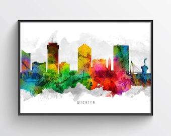 Wichita Kansas Skyline Poster, Wichita Cityscape, Wichita Art. Wichita Decor, Home Decor, Gift Idea, USKSWI12P