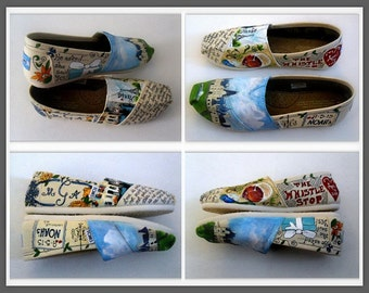 Bride's Love Story Wedding shoes for ceremony, rehearsal dinner, reception. Painted wedding TOMs, flats. Unique gift for bride, bridesmaid