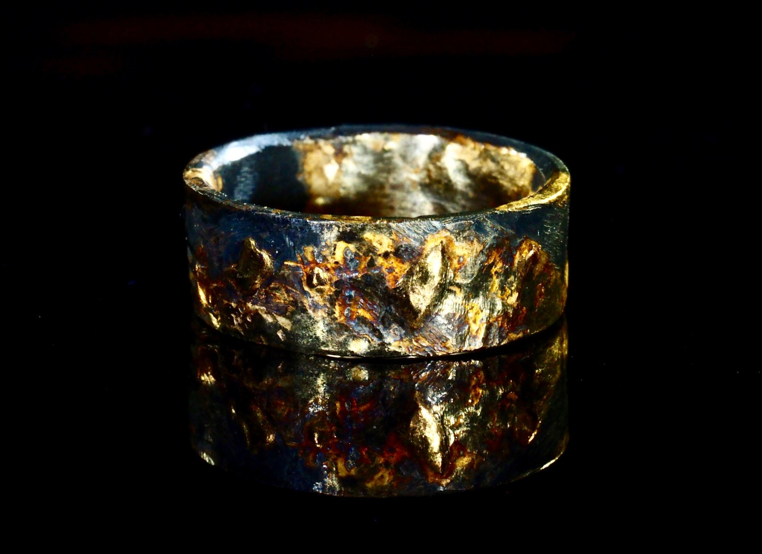 unique mens wedding band gold silver mens gold wedding ring black unique viking rustic - Viking Wedding Rings