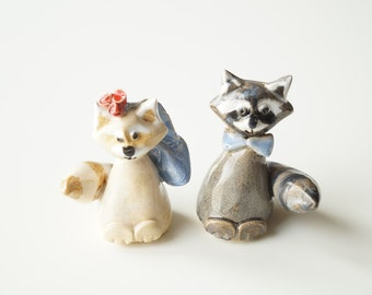 Raccoon Cake Topper, Ceramic Raccoon, Wedding Cake Topper, Love Raccoon, Cake Topper by Her Moments