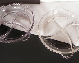 Imperial Candlewick 4-Part Relish LOT OF 2 Dish Round 3400 Divided Clear