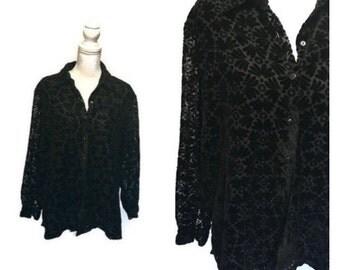 SALE Vintage Black Velvet Blouse Sheer PAISLEY print shirt Crushed Velvet Blouse 90s burnout grunge oversized shirt womens XL
