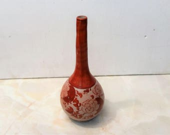 Vintage Japanese Red and Gold hand Painted Floral vase with Birds