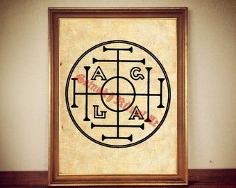 AGLA art print, occult symbol of luck, gnostic seal, magic poster, esoteric, sacred home #431