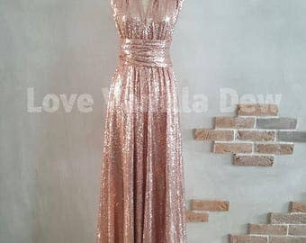 Bridesmaid Dress Infinity Dress Champagne Rose Sequin Floor Length Maxi Wrap Convertible Dress Wedding Dress