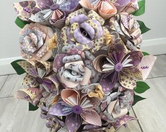 Summer flower bridal bouquet, paper flower cascade bouquet, wedding bouquet, bride bouquet, paper flower bouquet, wedding flowers