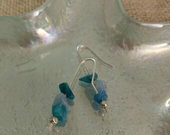 Silver Turquoise Quartzite Beaded Dangle Earrings