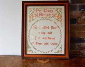 Cross Stitched Framed Pie Crust Recipe