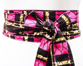 Sale Pink Ankara Print Obi Belt l African Print Obi Corset Belt | Wax Print Belt | Wide Belt| Corset Belt |Plus size belts| African Print