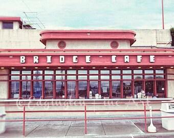 San Francisco Photography, Golden Gate Bridge, travel photography, Bridge Cafe photo, architectural photo, California photo, red, blue