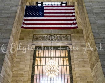 American Flag print, Grand Central Station, New York City Photo, flag photo, NYC photography, Americana, urban decor, USA flag print, flag