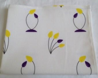 Tulip tea towel - yellow and purple tulips -  tulip kitchen towel - in 100% cotton