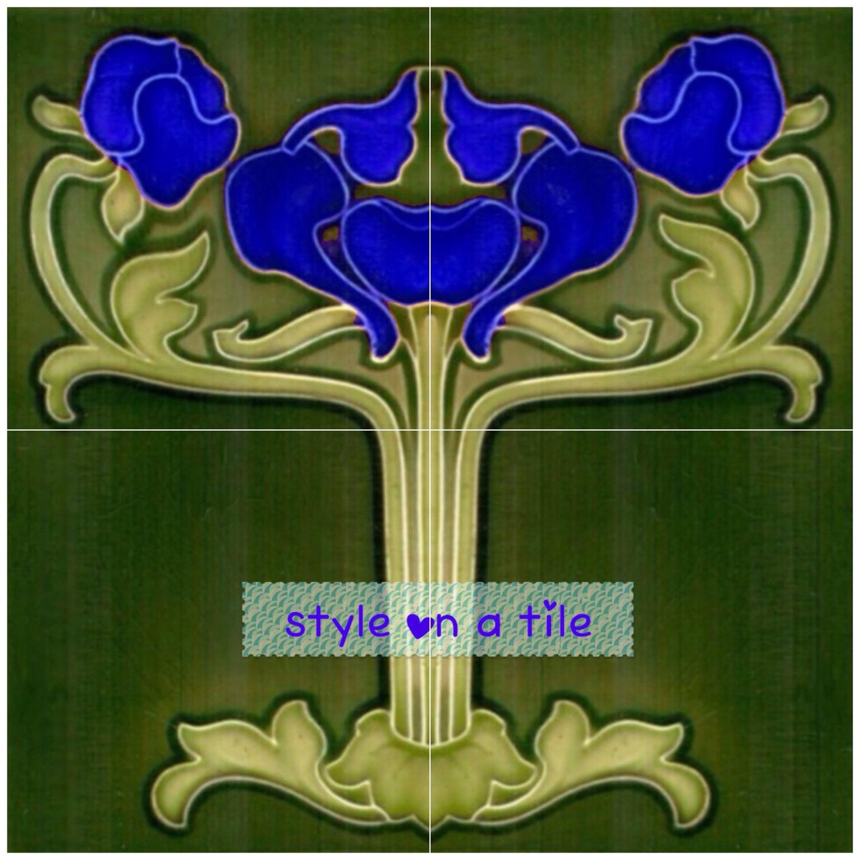 Lovely art nouveau poppy flower blue 4 x 6 or 152mm 12 x for Art nouveau tile mural