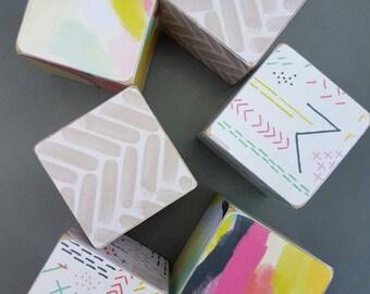 Set of 6 patterned handmade building nursery blocks