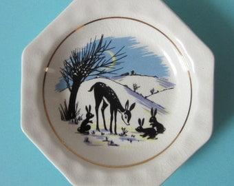 Wade 1950 s Octagonal Deer and Bunny Rabbits Dish