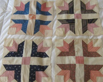 "Four Beautiful Antique Crosses & Crowns Quilt Blocks 12 1/2"""