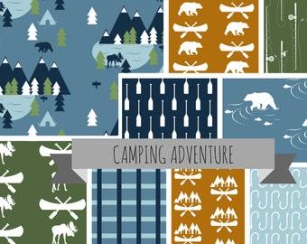 CAMPING ADVENTURE Nursery Collection - Camping Baby Bedding - Camping Crib Bedding - Camping Baby Quilt - Camping Crib Sheets - Bear Baby