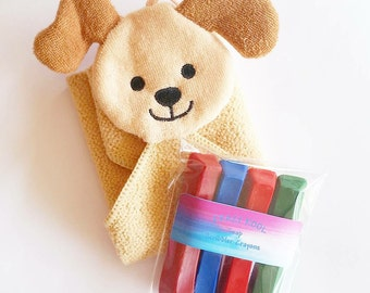Bath Crayons, Soap Crayons, Bath Puppet, Bath Mitt, Dog Soap, Puppy, Child's Soap, Gift, Water Toy, Kids Soap, Washcloth, Washable Crayons