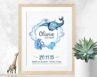 Nautical Customised Baby's Birth Announcement Wall Art (Digital File)