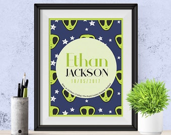 Personalised Alien themed Baby's Birth Announcement Wall Art gift (Digital File)