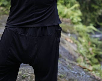 Mens yoga pants, Dance pants, Black yoga wear clothing, Wide pants, Cotton yoga harem pants, Workout comfy pants Dance clothes mens trousers
