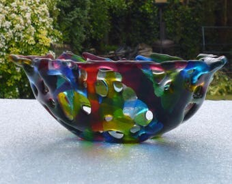 Fused Glass Bowl.  Quirky Colourful Transparent Fused Glass Bowl.  Glass Art Bowl