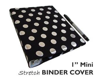 "a5 Planner Binder, a5 Binder BLACK SILVER DOTS 1"" Mini Binder Cover, Journal Binder, a5 Planner Accessories, Bullet Journal Accessories"